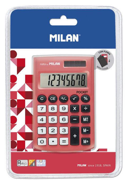 Blister calculadora pocket roja 8 digitos con funda