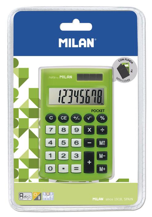 Blister calculadora pocket verde 8 digitos con funda
