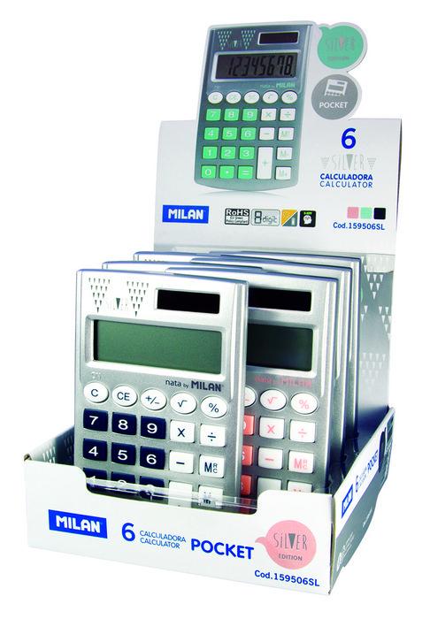 Expositor 6 calculadora milan 8 digitos silver pocket colore