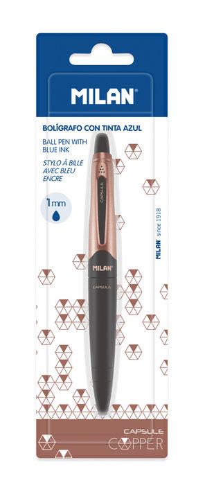 Boligrafo capsule copper negro tinta azul blister