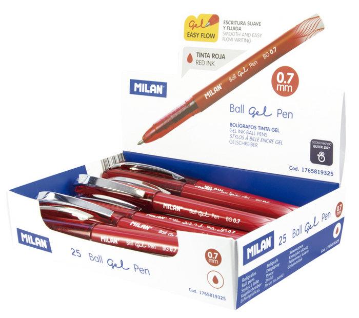 Boligrafo milan ballgel 0.7 rojo