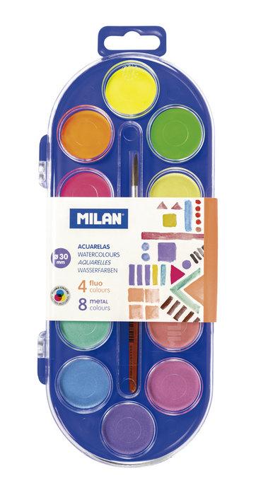 Acuarelas 12 pastillas 30mm y pincel colores fluor y metal