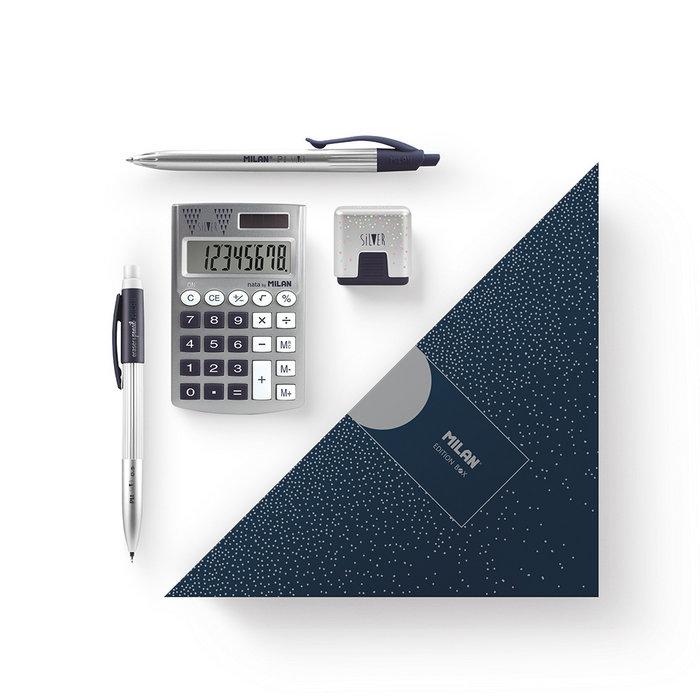 Caja regalo triangular contenido silver azul