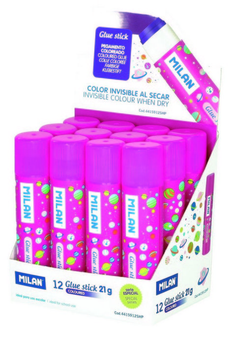 Barras pegamento 21g rosa expositor 12 unidades