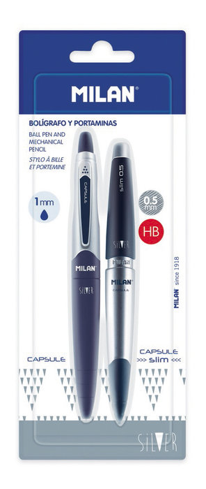 Boligrafo azul y portaminas 0.5 mm capsule silver blister