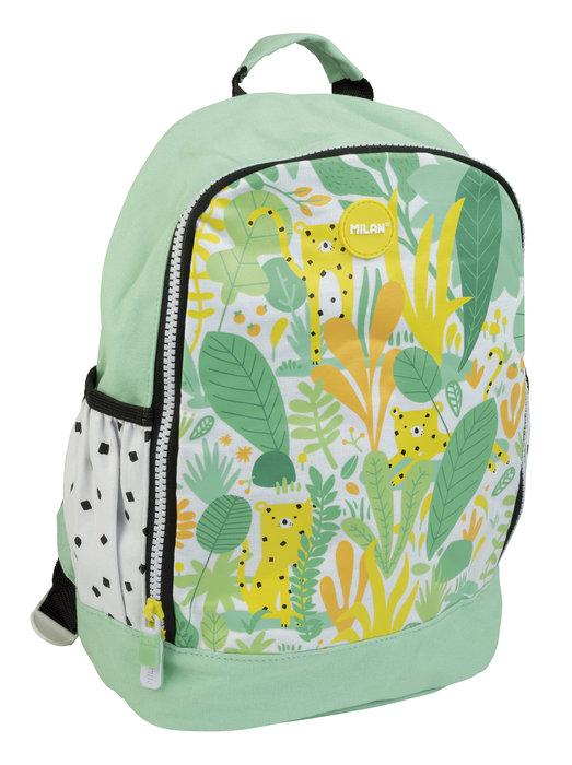 Mochila escolar pequeÑa hide & seek verde y amarilla