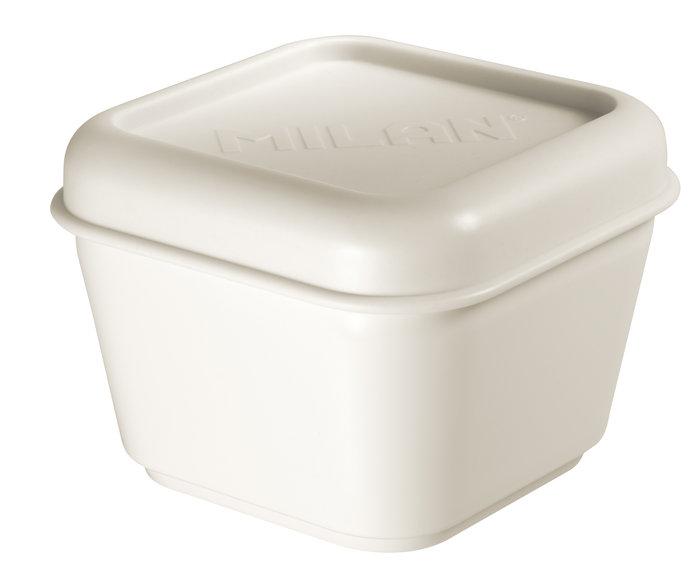 Recipiente para alimentos cuadrado 0,33 l tapa blanca