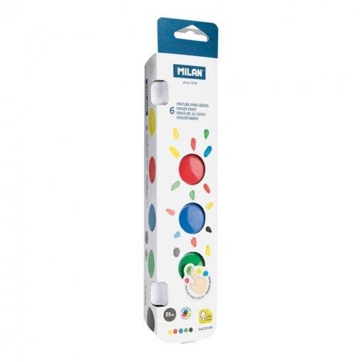 Pintura dedos milan 25 ml colores basicos 6 uds