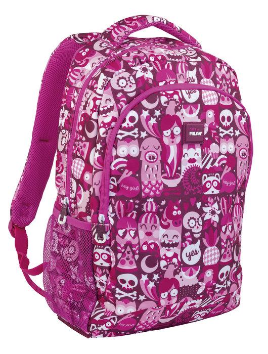 Mochila milan escolar 2 cremalleras hey girl rosa (21l)