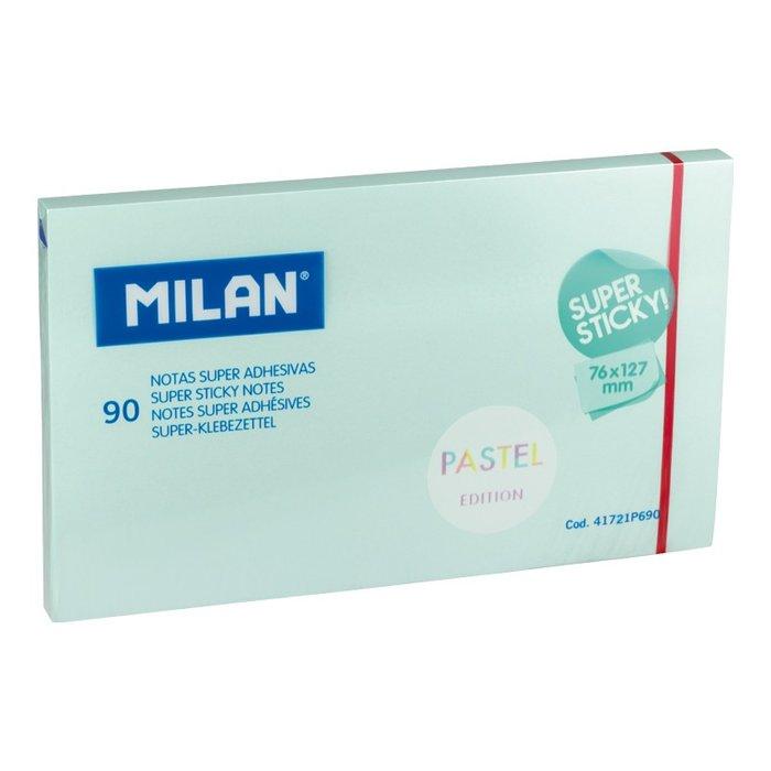 Nota super adhesiva milan 76x127 90 hojas azul pastel