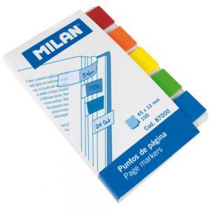 Banderitas adhesivas milan 5 colores transparentes