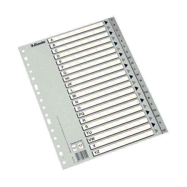 Indice plastico folio az gris con cartulina en blanco