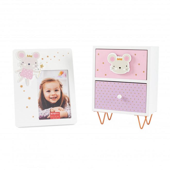 Pack regalo cajonera y marco 10x15sobre mesa  ratoncita rosa
