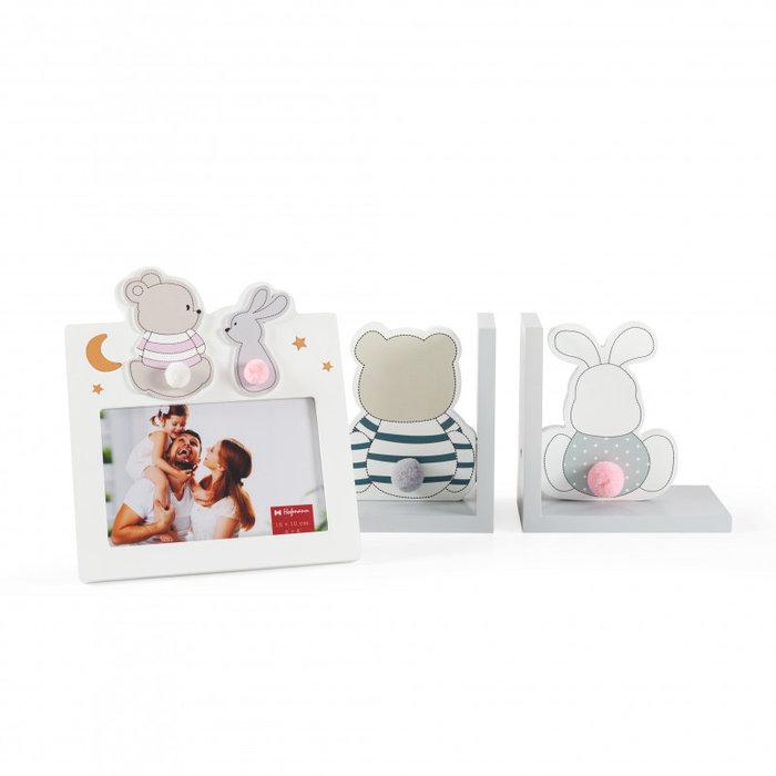 Pack regalo sujeta libros y marco 10x15 sobremesa oso y cone