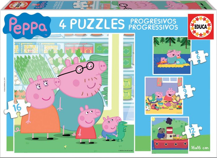 Puzzle progresivos peppa pig 6-9-12-16