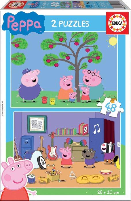 Puzzle 2x48 piezas peppa pig