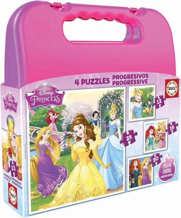 Maleta puzzles progresivos princesas disney 12-16-20-25