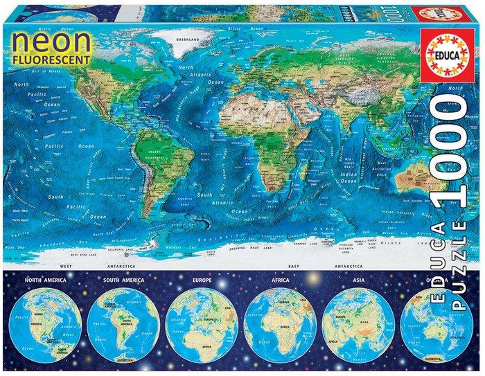 Puzzle educa 1000 piezas neon mapamundi fisico