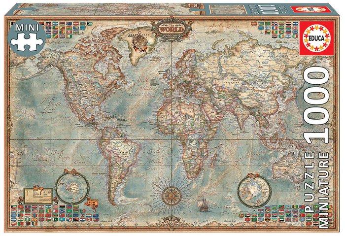 Puzzle educa 1000 pieza sel mundo, mapa politico miniatura