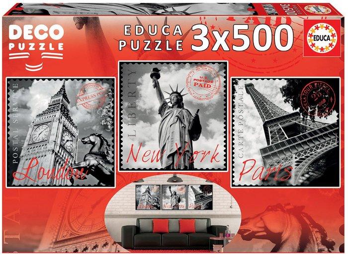 Puzzle educa 3x500 piezas grandes ciudades