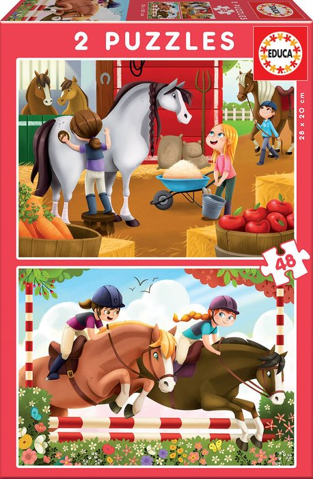 Puzzle 2x48 piezas cuidando caballos