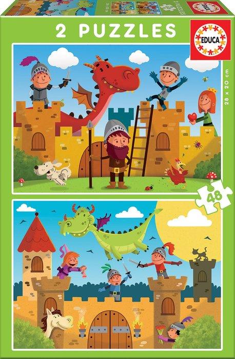Puzzle 2x48 piezas dragones y caballeros