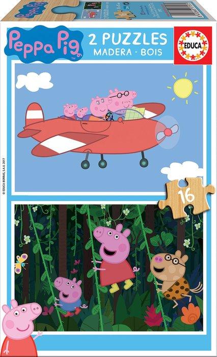 Puzzle 2x16 piezas peppa pig