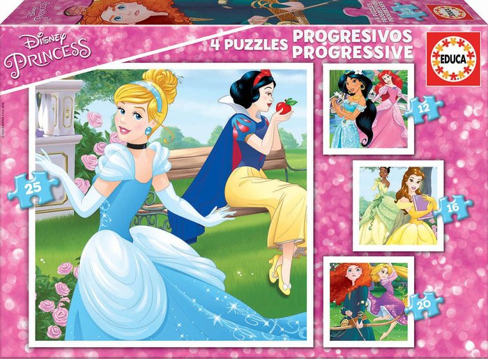 Puzzle progresivos princesas disney 12-16-20-25