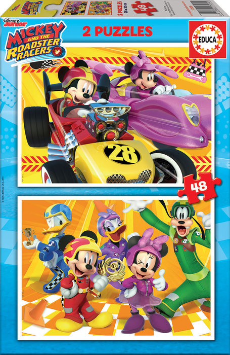 Puzzle 2x48 piezas mickey roadster racers