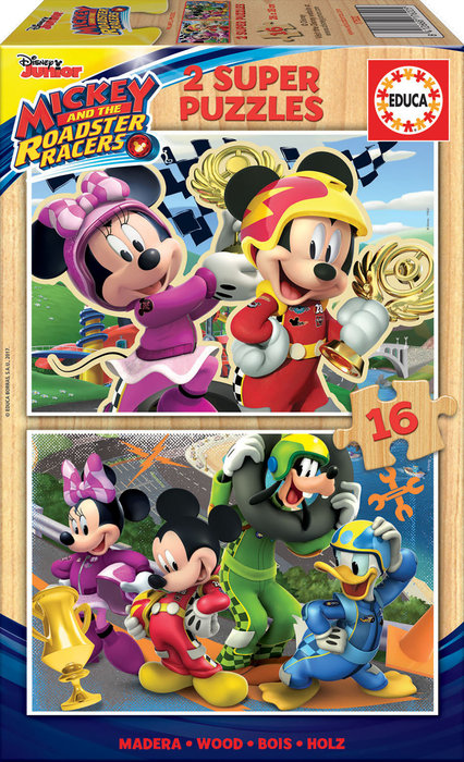 Puzzle 2x16 piezas mickey and the roadster racers