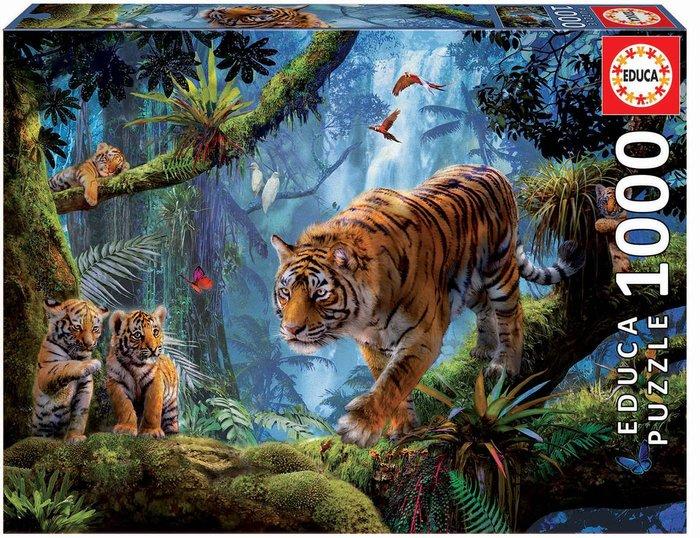 Puzzle educa 1000 piezas tigres en el arbol
