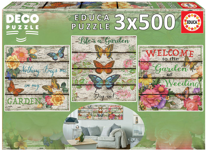 Puzzle educa 3x500 piezas jardin campestre