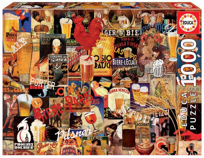 Puzzle educa 1000 piezas collage de cerveza vintage