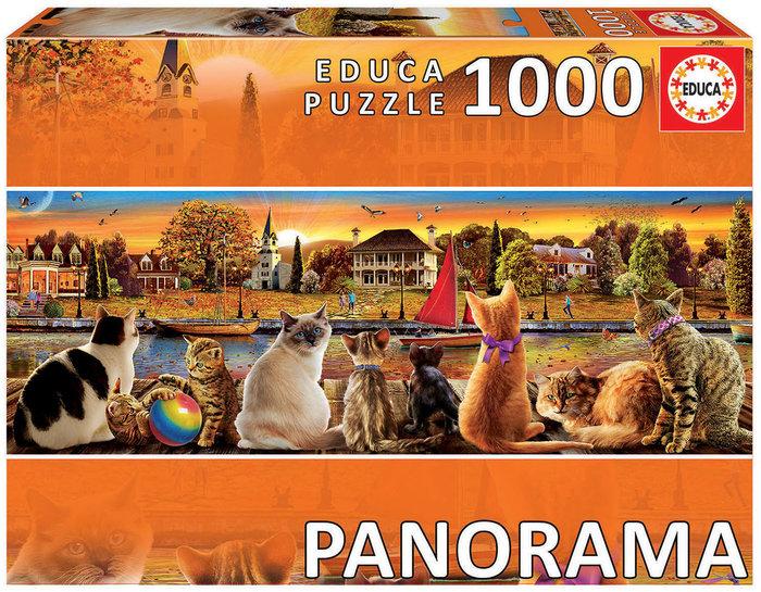Puzzle educa 1000 piezas gatos en el embarcadero panorama