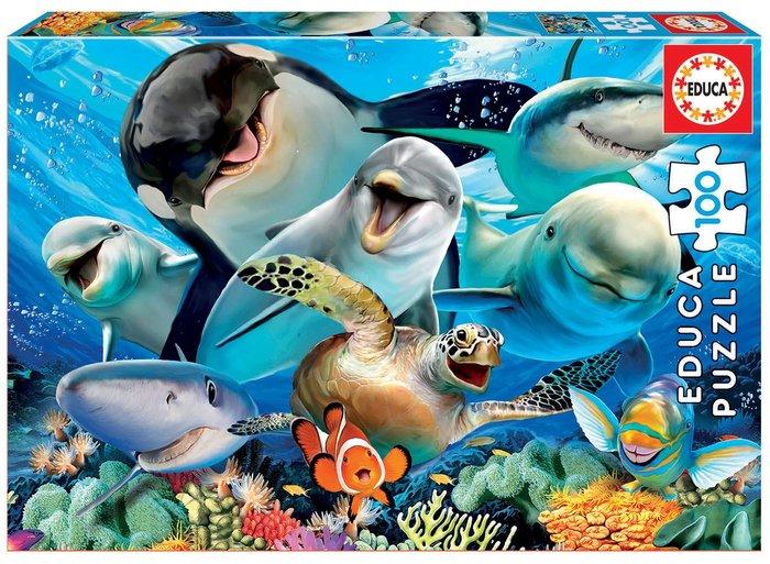 Puzzle 100 piezas selfie bajo el agua