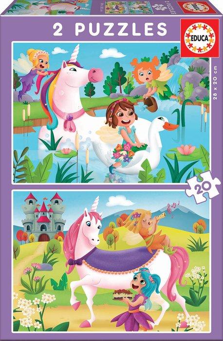 Puzzle 2x20 piezas unicornios y hadas