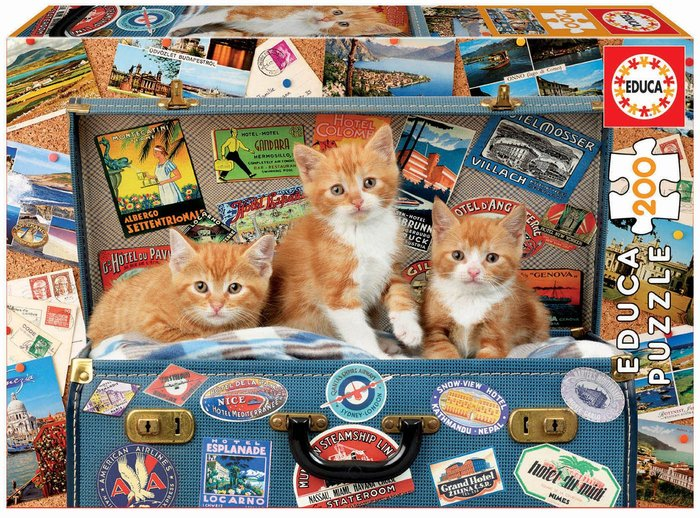 Puzzle 200 piezas gatitos viajeros
