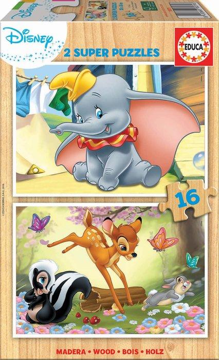 Puzzle 2x16 piezas disney animals dumbo + bambi