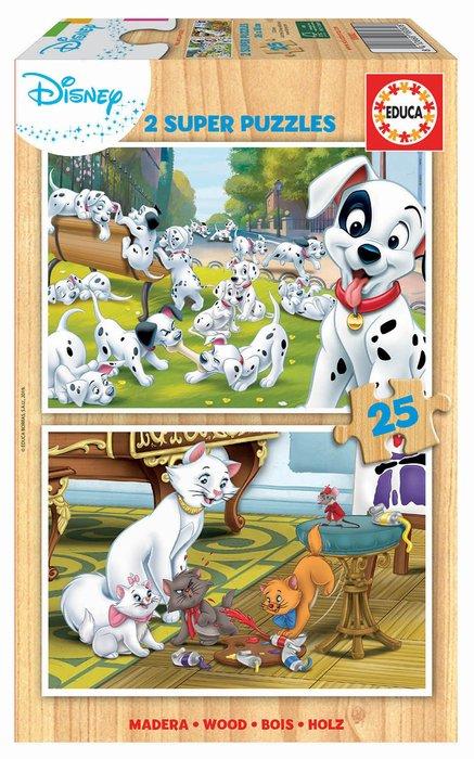 Puzzle 2x25 piezas disney animals dalmatas + aristogatos