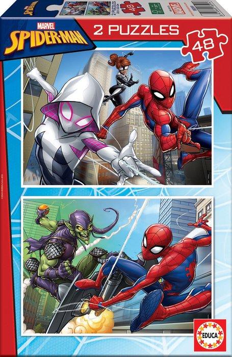 Puzzle 2x48 piezas spider-man