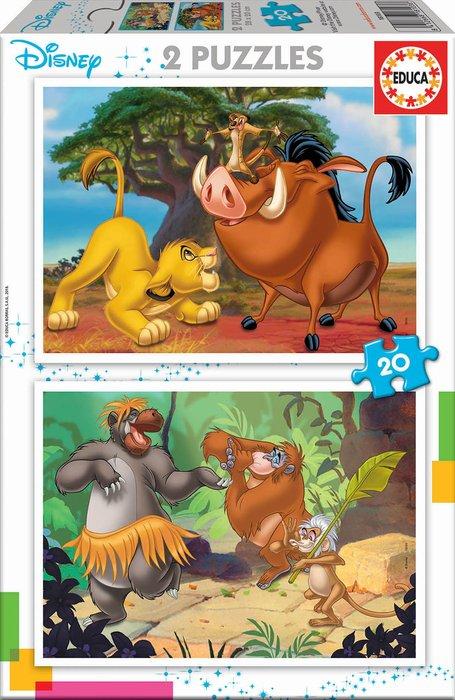 Puzzle 2x20 piezas disney animals