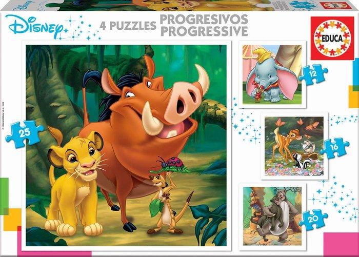 Puzzle disney dumbo+bambi+rey leon+libro de la selva