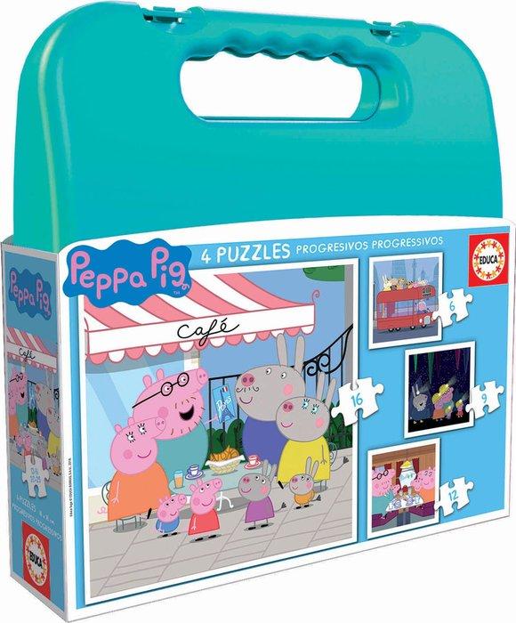 Puzzle maleta progresivos peppa pig 6-9-12-16