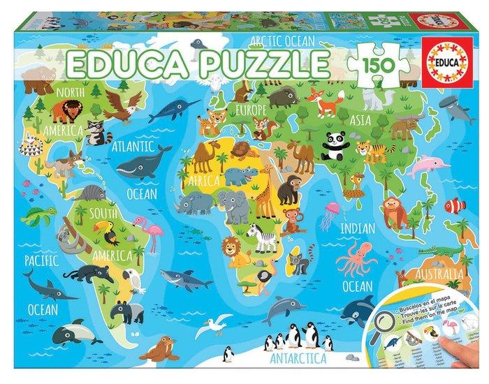 Puzzle 150 piezas mapamundi animales