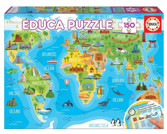 Puzzle 150 piezas mapamundi monumentos