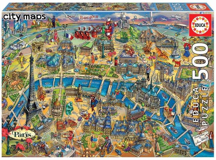 Puzzle educa 500 piezas mapa de paris city maps