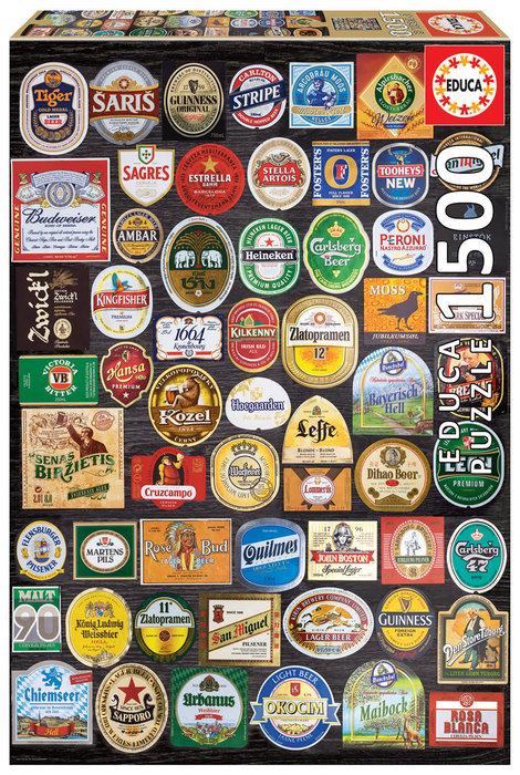 Puzzle educa 1500 piezas etiquetas de cerveza