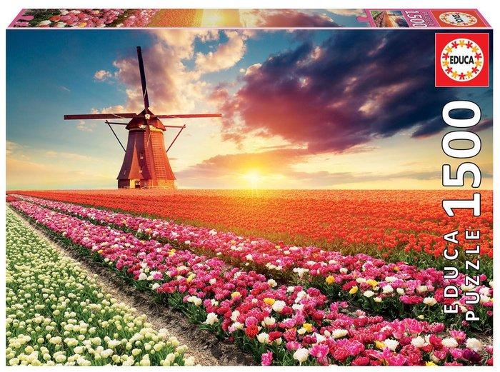 Puzzle educa 1500 piezas paisaje de tulipanes