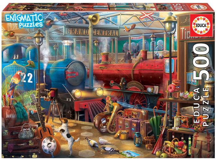 Puzzle educa 500 piezas estacion de tren enigmatic