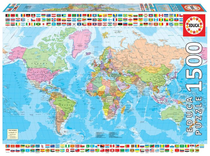 Puzzle educa 1500 piezas mapamundi politico